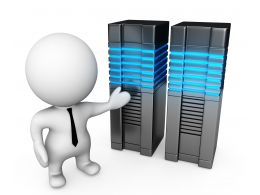 0914 3d Man Standing With Computer Server Stock Photo