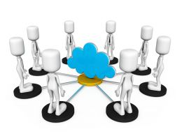 0914 3d People Around Cloud For Cloud Connection Stock Photo