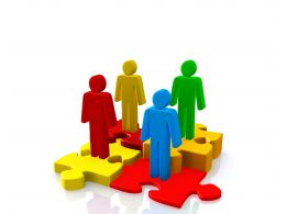 0914 3d People Standing On Puzzles For Teamwork Stock Photo