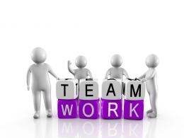0914 3d People Standing With Cubes Of Teamwork Stock Photo