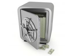 0914 3d Safe Full With Dollars For Safety Stock Photo