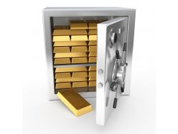 0914 3d Safe With Gold Bricks For Security Stock Photo