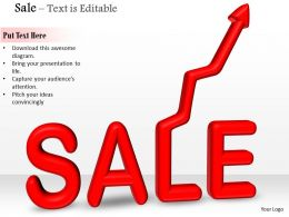 0914 3d Sale Text With Arrow On White Background Image Graphics For PowerPoint