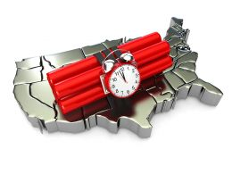 0914 3d Silver Usa Flag With Dynamite Explosive Stock Photo