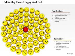 0914 3d Smiley Faces Happy And Sad Circle Formation Image Slide Image Graphics For Powerpoint