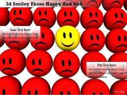 0914 3d Smiley Faces Happy And Sad Customer Satisfaction Image Slide Image Graphics For Powerpoint