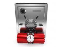 0914 3d Steel Bank Safe With Explosives Stock Photo