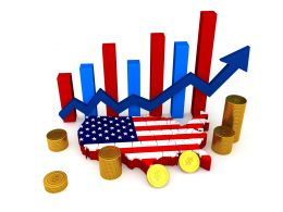 0914 American Map With Bar Graph And Coins For Financial Reports Stock Photo