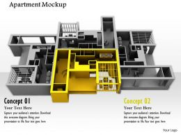 0914 Apartment Mockup With Individual Yellow Room Image Graphics For PowerPoint