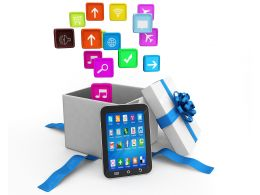 0914 Application Icons And Smart Phone With Gift Box Stock Photo