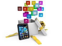 0914_application_icons_coming_out_of_gift_box_with_smart_phone_stock_photo_Slide01