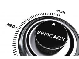 0914 Arrow Pointing At High Level Of Efficacy Stock Photo