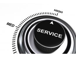 0914 Arrow Pointing At High Level Of Service Stock Photo