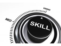 0914 Arrow Pointing At High Level Of Skill Stock Photo