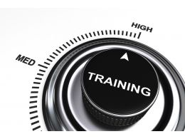 0914 Arrow Pointing At High Level Of Training Stock Photo