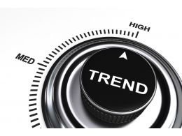 0914 Arrow Pointing At High Level Of Trend Stock Photo