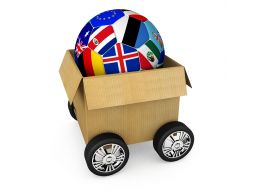 0914 Ball With Various Flag Icons Moving In Box Stock Photo