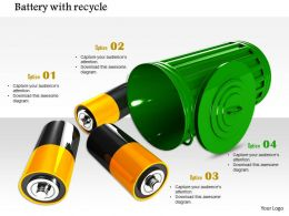 0914 Battery With Recycle Bin Showing Energy Conservation Image Slide Image Graphics For Powerpoint