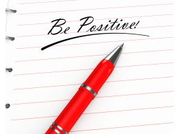 0914 Be Positive Text On Notebook With Pen Stock Photo