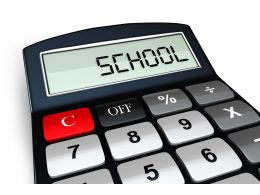 0914 Black Calculator Displaying Word School Stock Photo