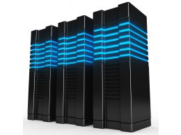 0914 Black Computer Servers On White Background Stock Photo