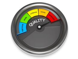 0914 Black Meter Indicating Maximum Level Of Quality Stock Photo