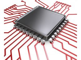 0914 Black Processor Chip On Circuit Board Stock Photo