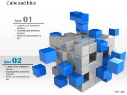 0914 Block Of Grey And Blue Cubes Falling Apart Image Slide Image Graphics For Powerpoint