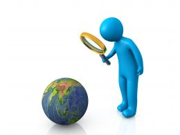 0914 Blue 3d Man With Magnifier Earth Globe Image Graphic Stock Photo