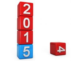 0914 Blue Block Replacing 2014 With New Year 2015 Stock Photo