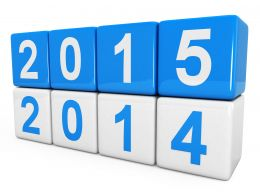 0914 Blue Blocks Of New Year 2015 With 2014 Stock Photo