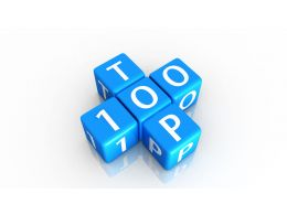0914 Blue Blocks Of Top 100 On White Background Stock Photo