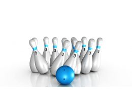0914 Blue Bowling Set Image On White Background Stock Photo