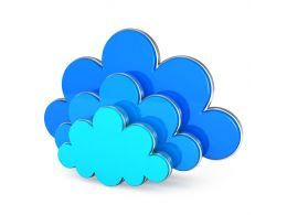 0914 Blue Cloud Icons On White Background For Cloud Computing Stock Photo