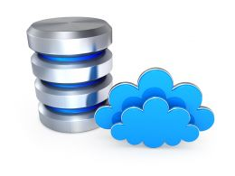 0914 Blue Clouds With Storage Device For Cloud Storage Stock Photo