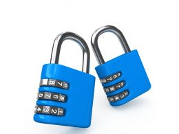 0914 Blue Combination Locks On White Background Stock Photo