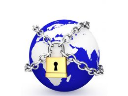 0914 Blue Earth Globe Locked With Chains For Global Security Stock Photo