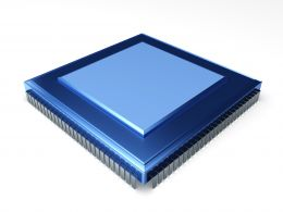 0914 Blue Electronic Chip On White Background Stock Photo