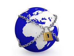 0914 Blue Globe Model Locked With Chains For Global Security Stock Photo