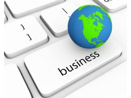 0914 Blue Globe On Business Key Stock Photo