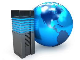 0914 Blue Globe With Computer Server For Global Technology Stock Photo