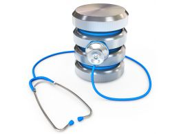 0914 Blue Stethoscope On Database Icon Stock Photo