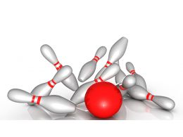 0914 Bowling Ball Knocking The Pins Down Strategy Image Stock Photo