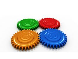 0914 Bright Color Gears In Process Image Graphic Stock Photo