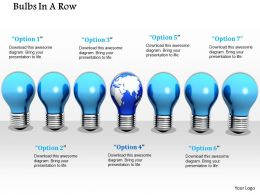 0914 Bulbs In A Row One Globe Bulb Image Graphics For PowerPoint