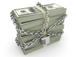 0914 Bundles Of Dollars Secured By Padlock And Chain Stock Photo