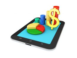0914 Business Charts And Dollar Symbol On Pc Tablet Stock Photo