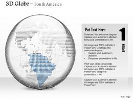 0914 Business Plan 3d Binary Globe South America Highlighted PowerPoint Presentation Template