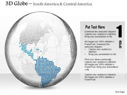0914 Business Plan 3d Binary Globe South And Central America Highlighted PowerPoint Presentation Template