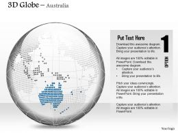 0914 Business Plan 3d Binary Globe Vector Australia Highlighted PowerPoint Presentation Template